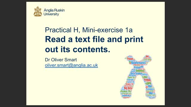 Read a text file and print out its contents (mini exercise)