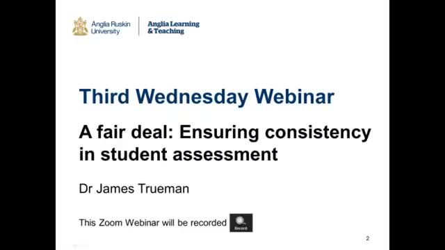 A fair deal: Ensuring consistency in assessment